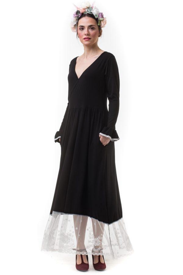 Μαύρο Μακρύ Κρουαζέ Φόρεμα με Φάσα Δαντέλα