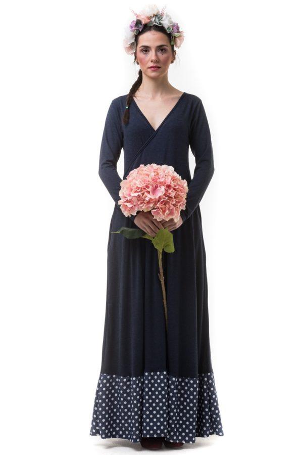 Μπλε Μακρύ Κρουαζέ Φόρεμα με Φάσα Πουά