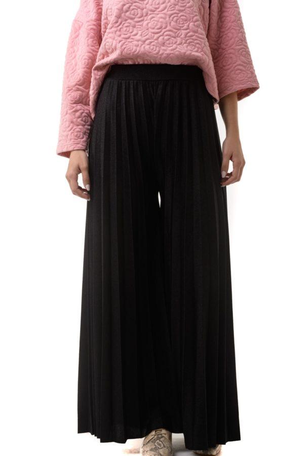 Μαύρη Πλισέ Παντελόνα Glitter