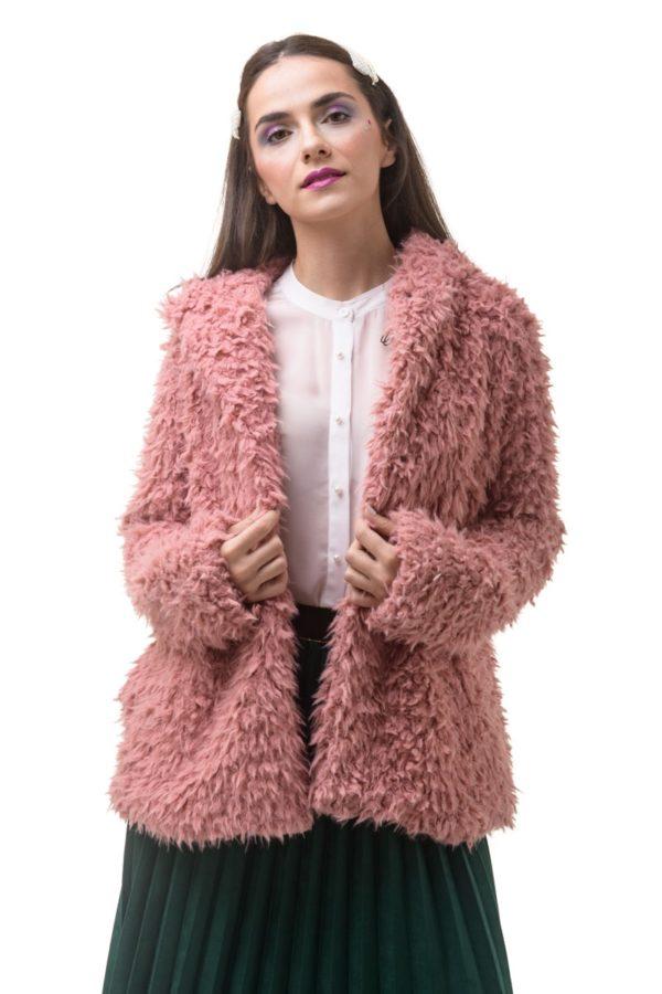 Ροζ Απαλό Πανωφόρι με Κουκούλα