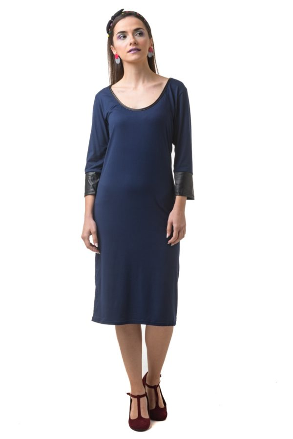 Μπλε Μίντι Φόρεμα με Δερμάτινα Μανίκια
