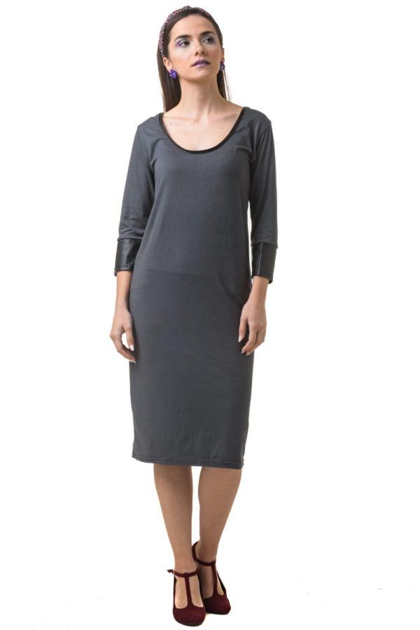 Γκρι Μίντι Φόρεμα με Δερμάτινες Λεπτομέρειες
