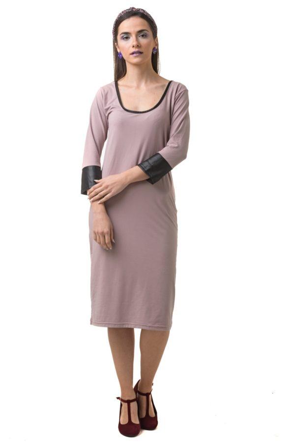 Ροζ Midi Φόρεμα με Δέρμα