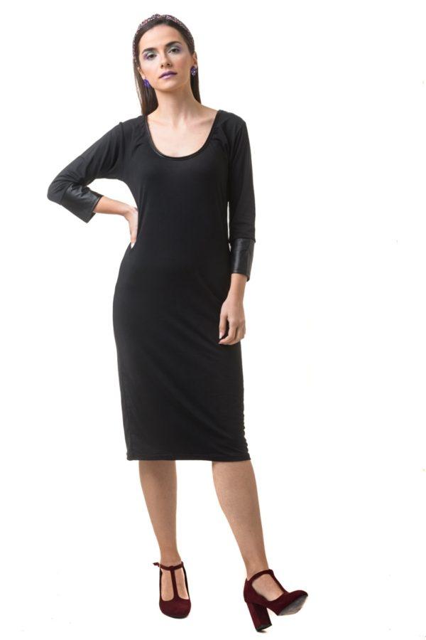 Μαύρο Midi Φόρεμα σε Ίσια Γραμμή