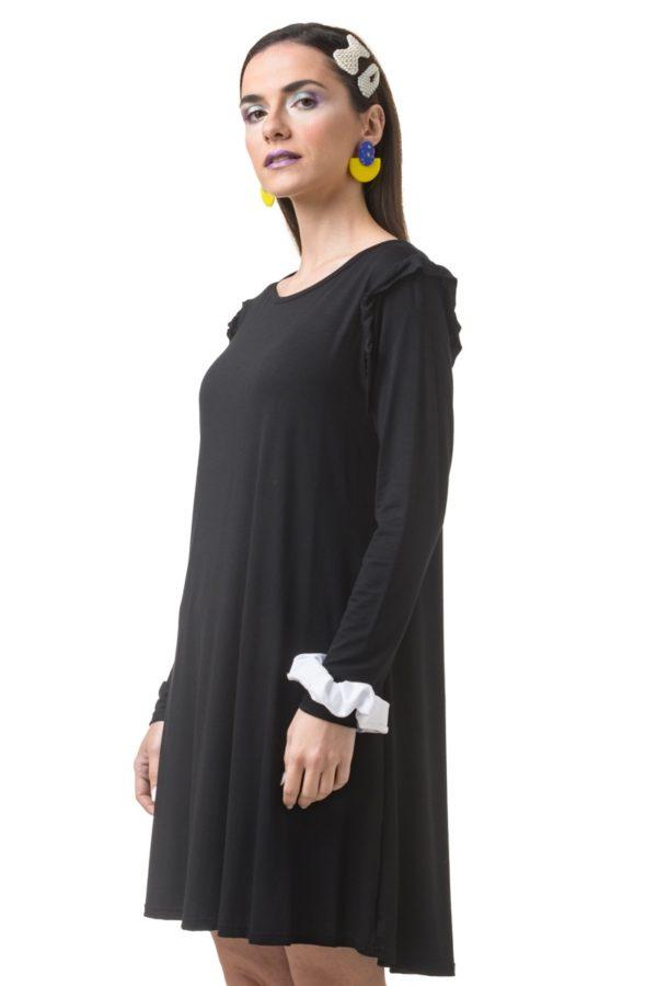 Μαύρο Φόρεμα Α-Γραμμή με Βολάν