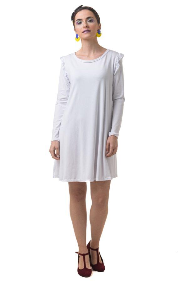 Άσπρο Φόρεμα Α-Γραμμή με Βολάν