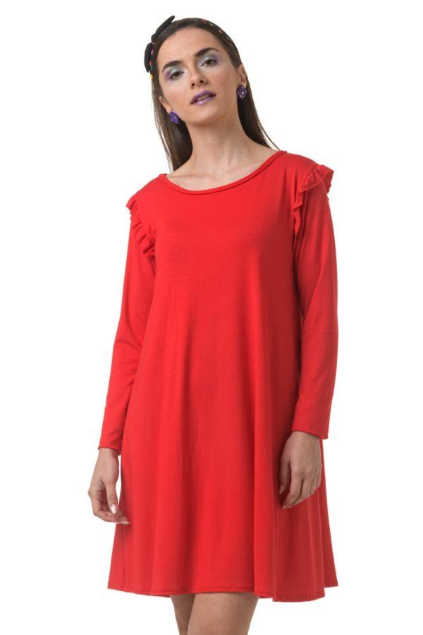 Κόκκινο Φόρεμα Α-Γραμμή με Βολάν