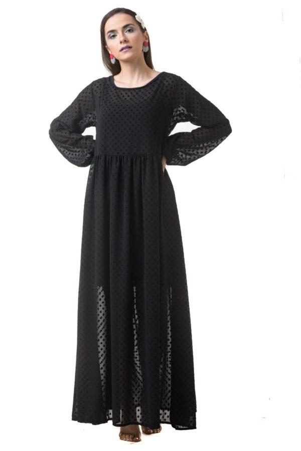 Βελούδινο Πουά Μακρύ Φόρεμα με Μανίκι Φουφούλα