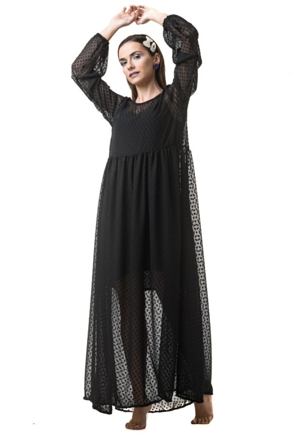 Πουά Μακρύ Φόρεμα με Μανίκι Φουφούλα