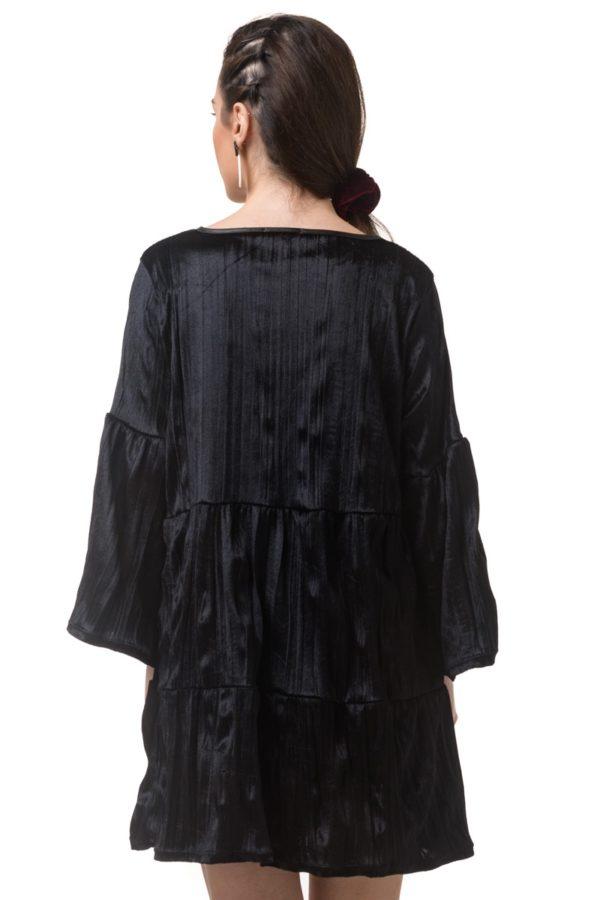 Μαύρο Βελούδινο Φόρεμα με Καμπάνα Μανίκι