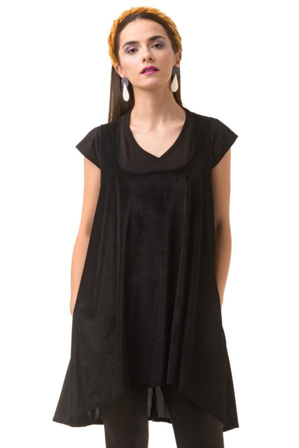 Μαύρο Αμάνικο Φόρεμα Βελούδινο