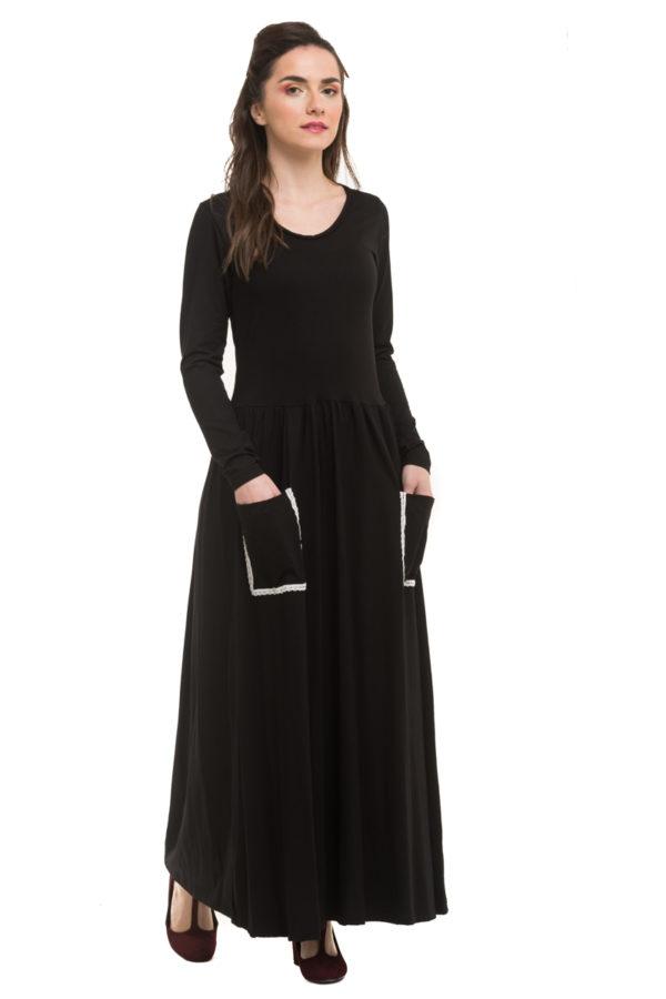Μακρύ Μαύρο Φόρεμα με Τσέπες Εξωτερικές
