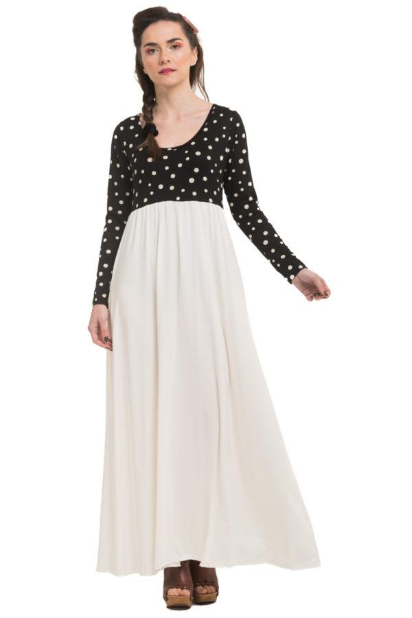 Άσπρο Μακρύ Φόρεμα με Πουά Μπούστο