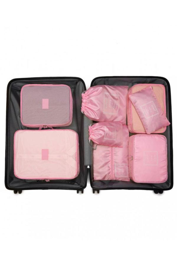 Ροζ Cubes Τσάντες Οργάνωσης Ταξιδίου Σετ 8