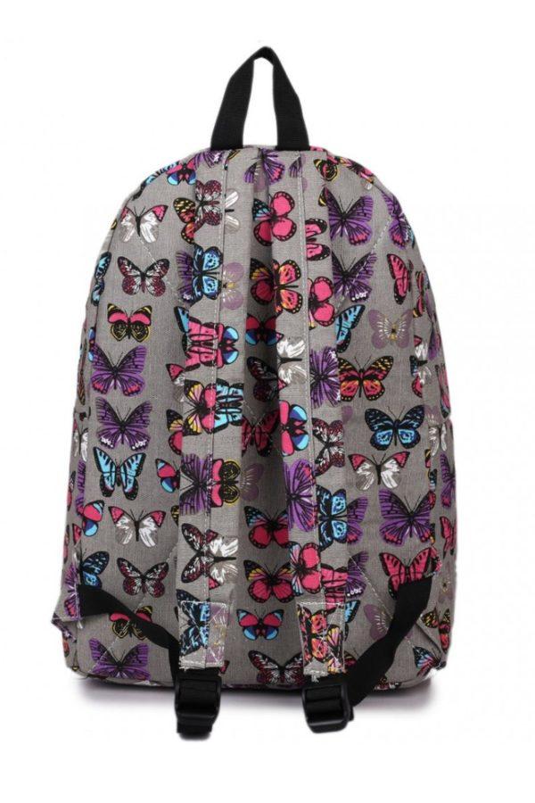 Γκρι Σακίδιο Τσάντα Πλάτης με Πεταλούδες