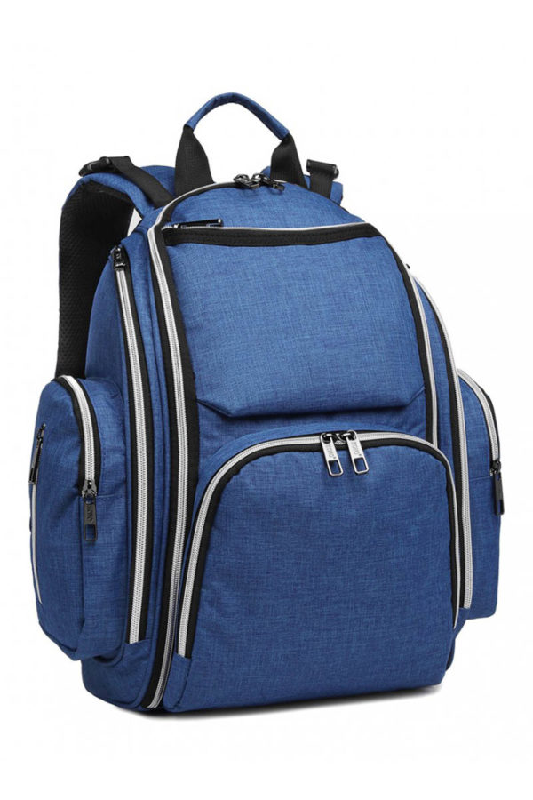 Μπλε Τσάντα Πλάτης Αλλαξιέρα με Φερμουάρ