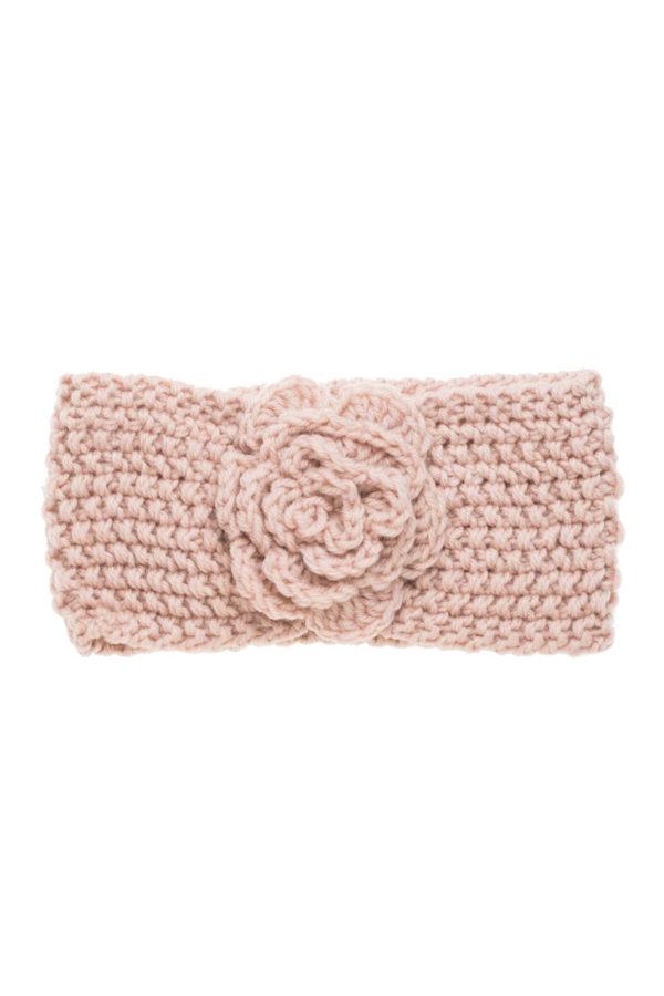Ροζ Πλεκτή Κορδέλα Μαλλιών Με Λουλούδι