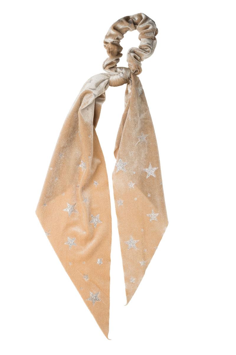 Εκρού Αστέρια Βελούδινο Scrunchie Σούρα Μαλλιών με Φιόγκο Μαντήλι