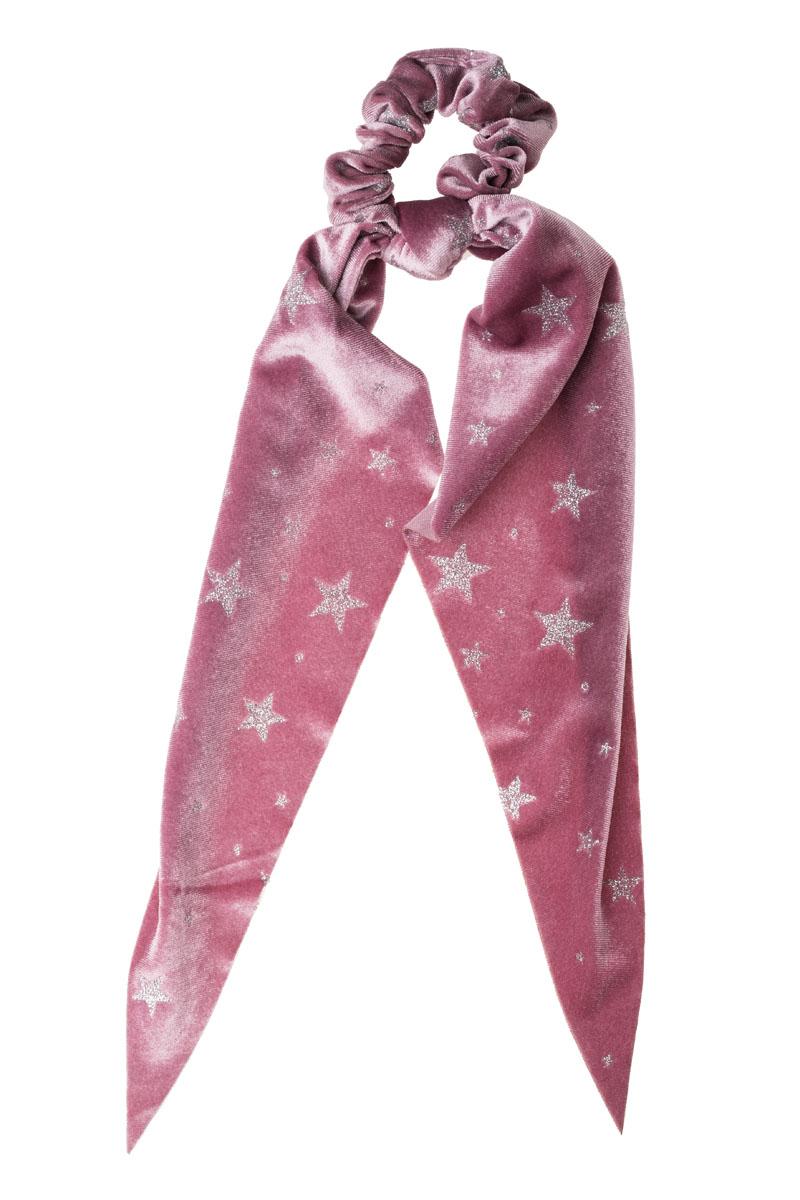 Ροζ Αστέρια Βελούδινο Scrunchie Σούρα Μαλλιών με Φιόγκο Μαντήλι
