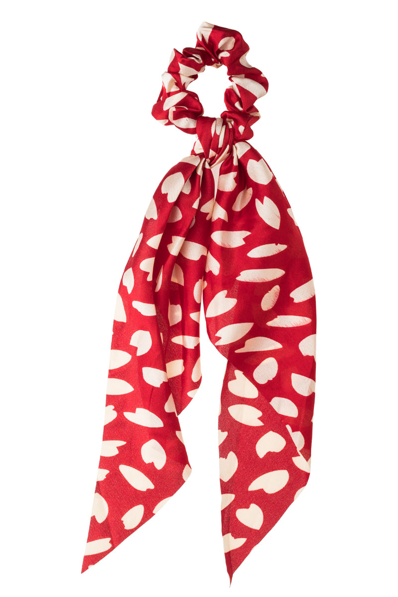 Καρδιές Φύλλα Κόκκινο Scrunchie Σούρα Μαλλιών με Φιόγκο Μαντήλι