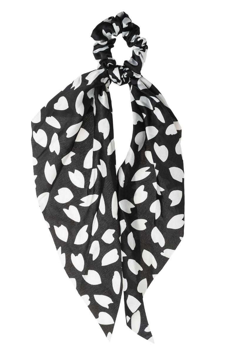 Καρδιές Φύλλα Μαύρο Scrunchie Σούρα Μαλλιών με Φιόγκο Μαντήλι