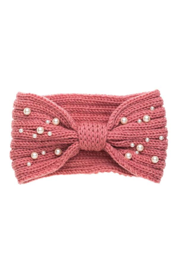 Ροζ Πλεκτή Κορδέλα Μαλλιών Με Πέρλες