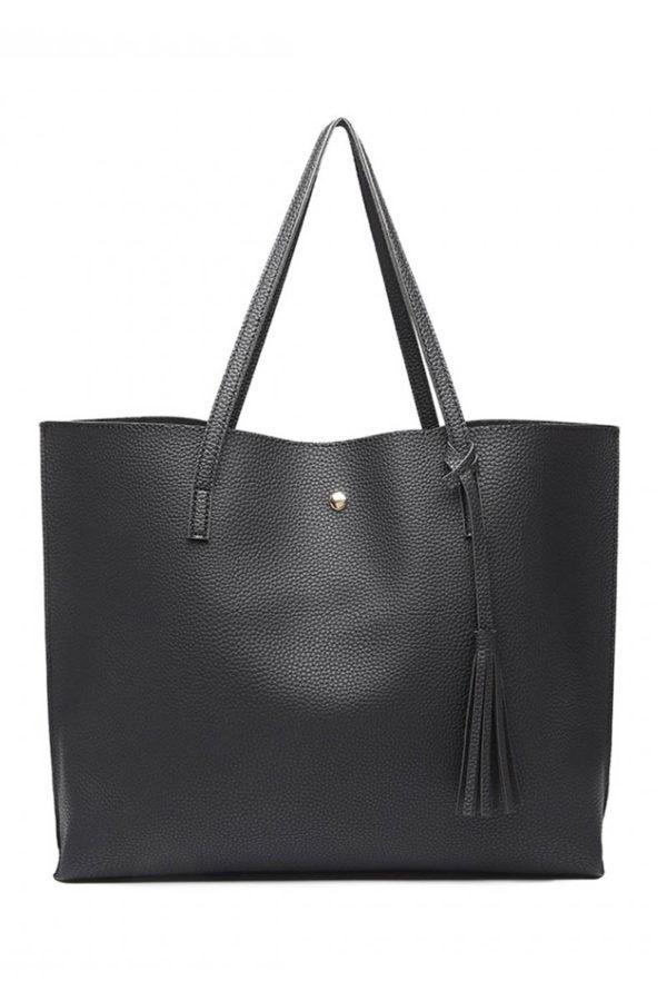 Μαύρη Καθημερινή Τσάντα Ώμου Δερματίνη