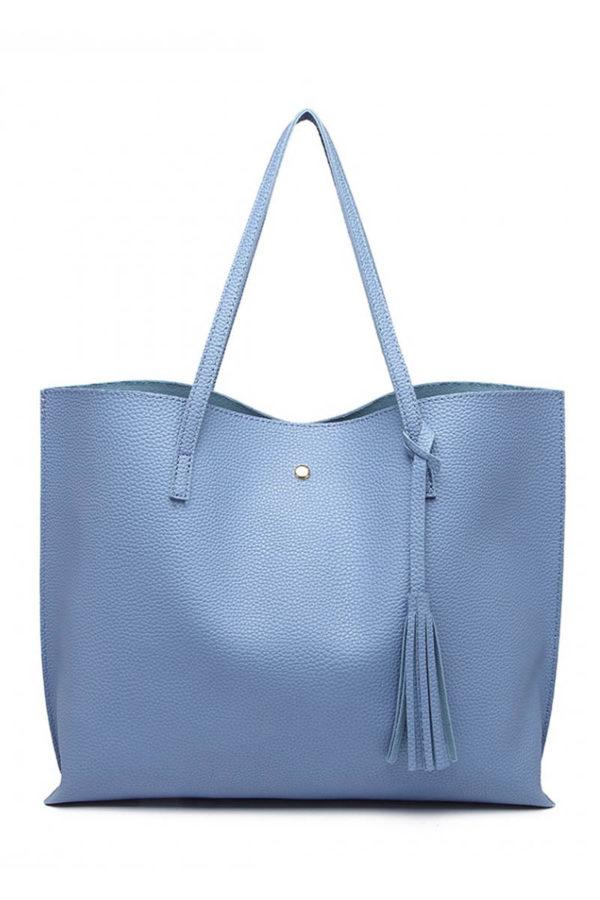 Γαλάζια Καθημερινή Τσάντα Ώμου Δερματίνη