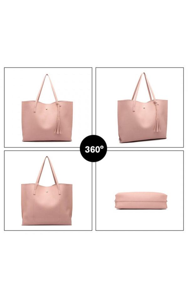 Ροζ Καθημερινή Τσάντα Ώμου Δερματίνη
