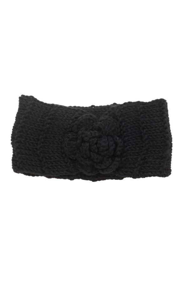 Μαύρη Πλεκτή Κορδέλα Μαλλιών Rip Με Λουλούδι