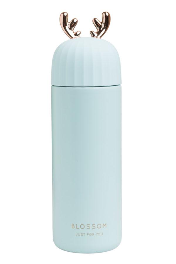 Ανοξείδωτος Θερμός Υγρών Χρυσαφί Κέρατα Γαλάζιος 400ml