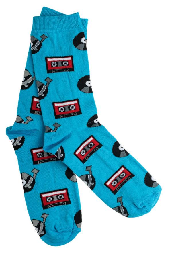 Ψηλές Γυναικείες Κάλτσες Γαλάζιες με Σχέδιο Κασέτες & Δίσκοι