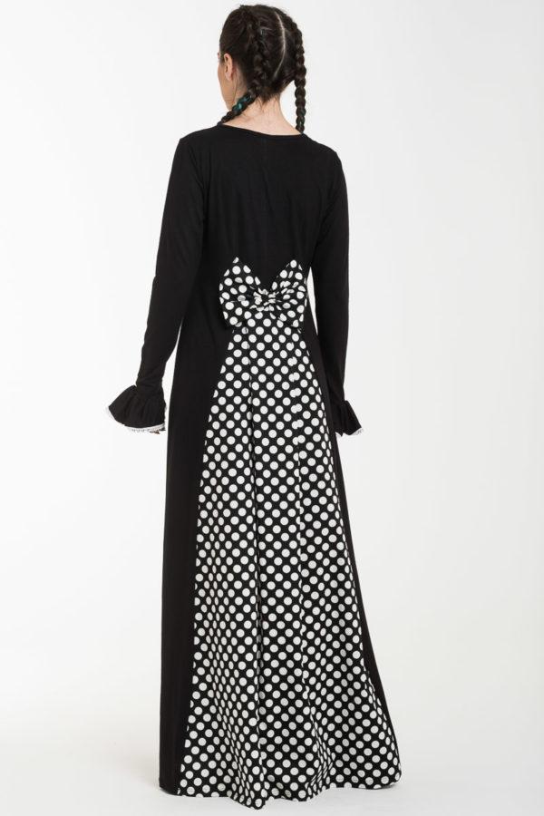Μαύρο Μακρύ Φόρεμα με Φιόγκο & Ουρά Πουά Ασπρόμαυρο