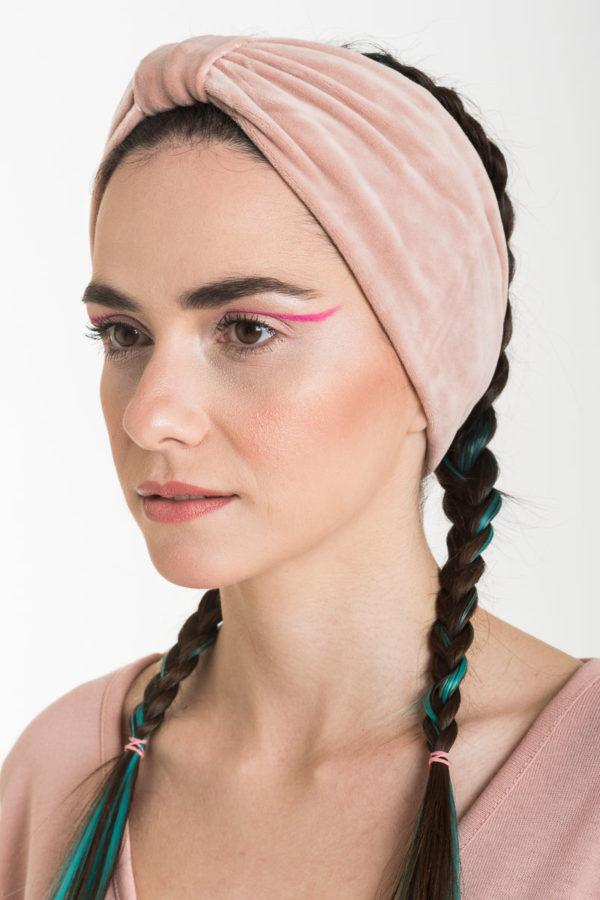 Βελούδινη Κορδέλα Μαλλιών Φιόγκος Ροζ