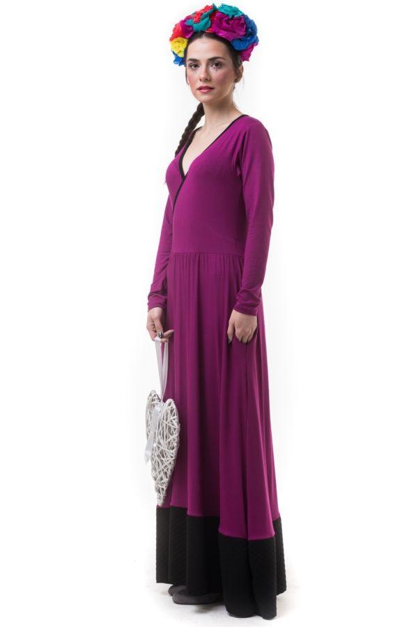 Μοβ Μακρύ Κρουαζέ Φόρεμα με Φάσα Καπιτονέ