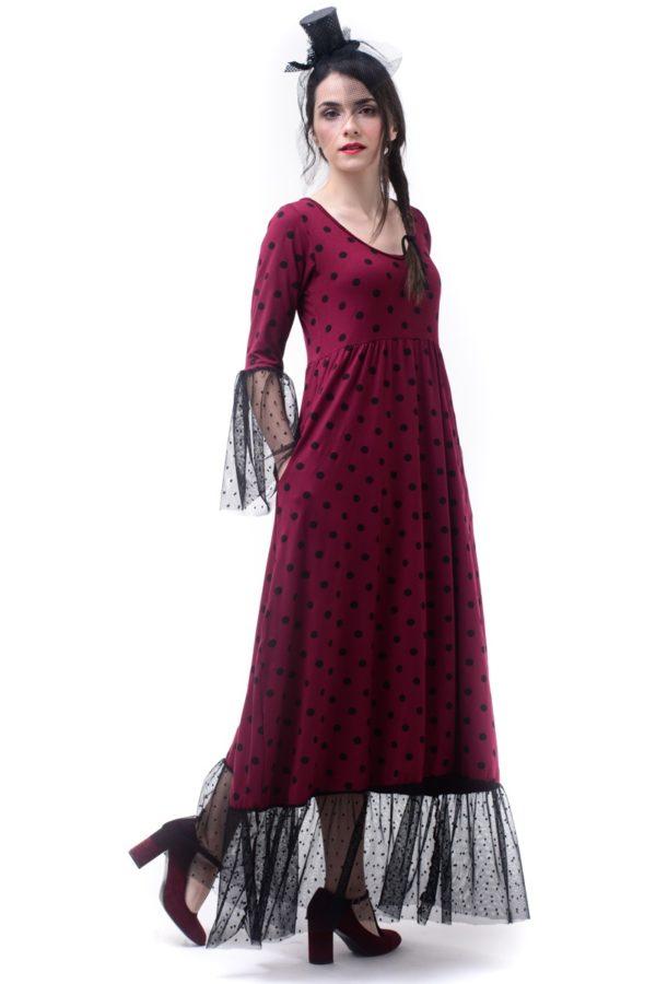 Μπορντό Πουά Μακρύ Φόρεμα με Τούλι