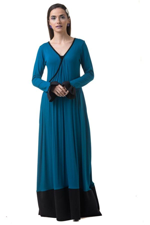 Πετρόλ Μακρύ Κρουαζέ Φόρεμα με Φάσα Σουέντ