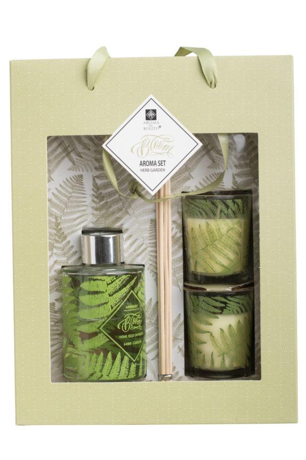 Set of 3 Κεριά & Αρωματικό Χώρου Diffuser Herb Garden