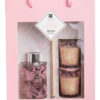Set of 3 Κεριά & Αρωματικό Χώρου Diffuser Pink Orchid