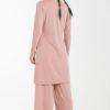 Σετ Ροζ Μακριά Μπλούζα με Ανοίγματα & Παντελόνα Φαρδιά
