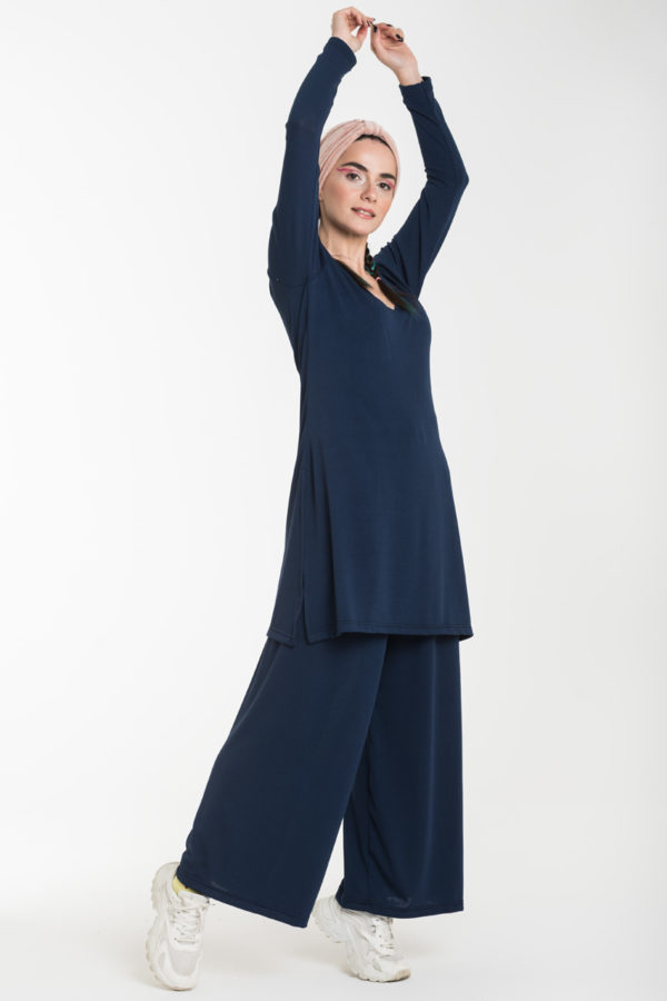 Σετ Μπλε Μακριά Μπλούζα με Ανοίγματα & Παντελόνα Φαρδιά