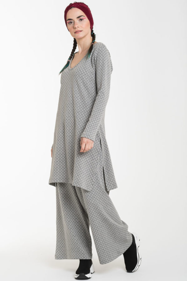 Σετ Γκρι Ρόμβοι Μακριά Μπλούζα με Ανοίγματα & Παντελόνα Φαρδιά