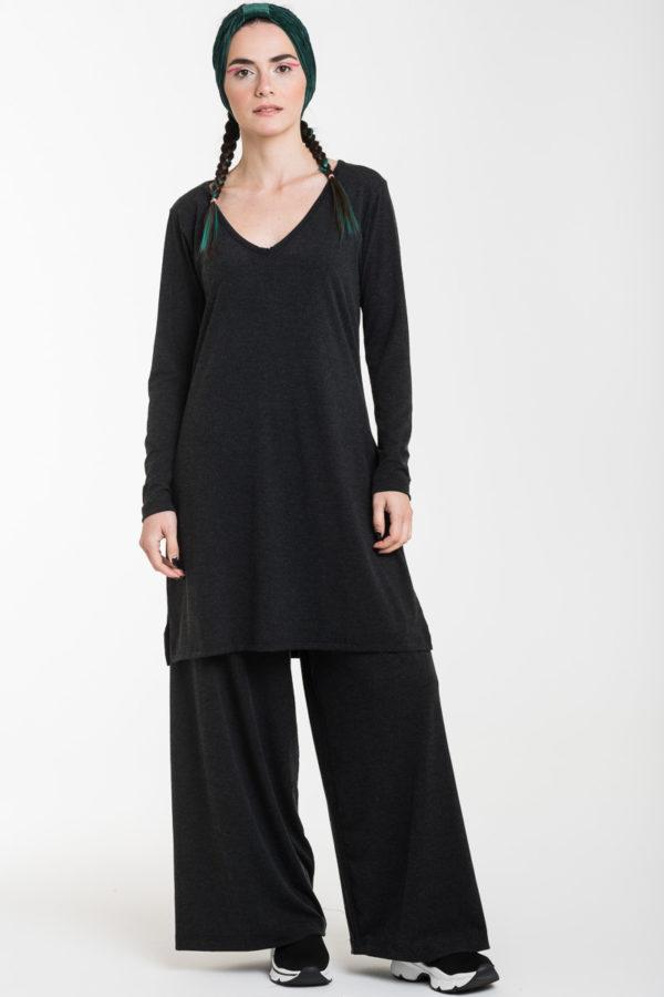 Σετ Γκρι Ανθρακί Μακριά Μπλούζα με Ανοίγματα & Παντελόνα Φαρδιά