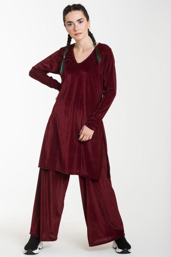 Σετ Μπορντό Βελούδινη Μακριά Μπλούζα με Ανοίγματα & Παντελόνα Φαρδιά