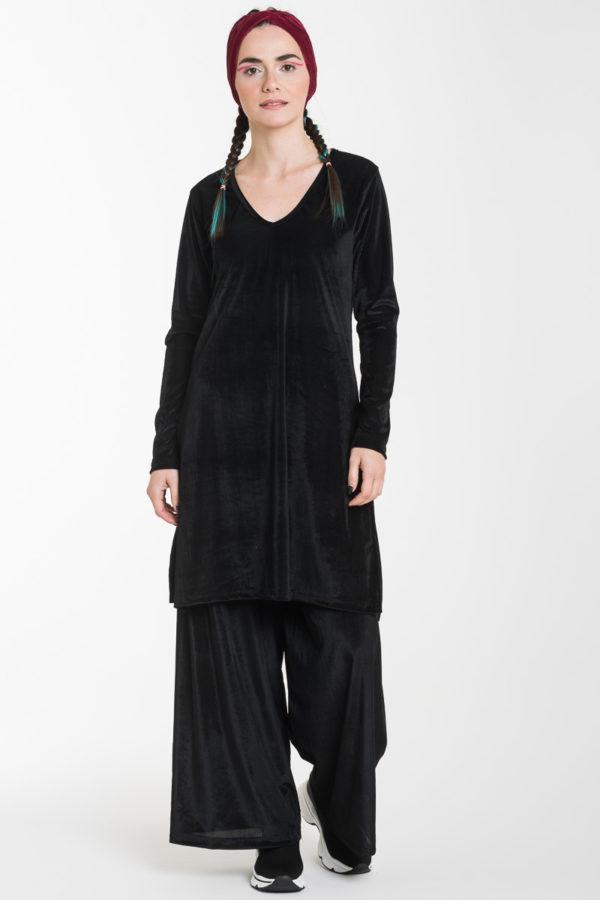 Σετ Μαύρη Βελούδινη Μακριά Μπλούζα με Ανοίγματα & Παντελόνα Φαρδιά