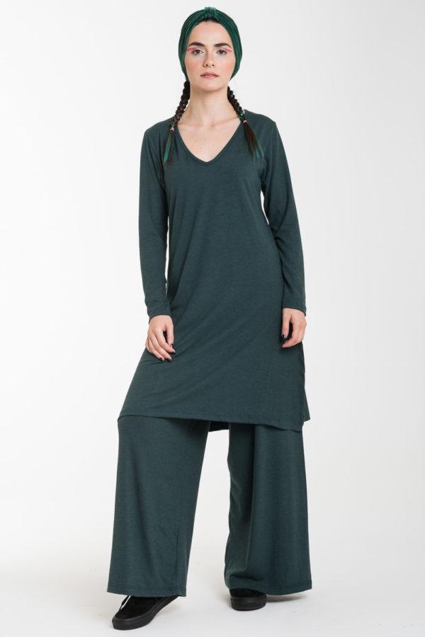 Σετ Κυπαρισσί Μακριά Μπλούζα με Ανοίγματα & Παντελόνα Φαρδιά