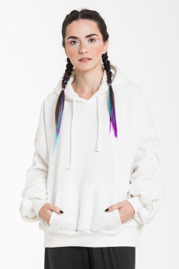 Άσπρη Oversized Μπλούζα Φούτερ με Σούρα Μανίκι & Κουκούλα