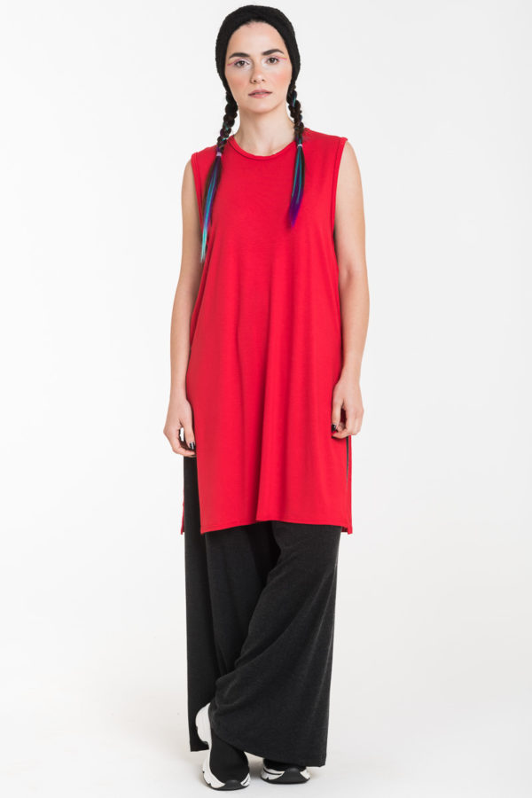 Κόκκινη Αμάνικη Μπλούζα Μακριά με Ανοίγματα