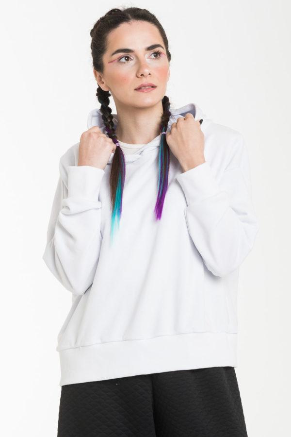 Άσπρη Γυναικεία Μπλούζα Φούτερ με Κουκούλα