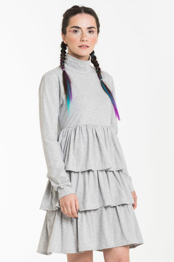 Γκρι Κοντό Φόρεμα Ζιβάγκο με Τριπλό Βολάν